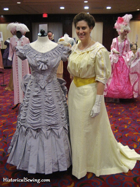 Jen with her Blackberry Cream Dress on display