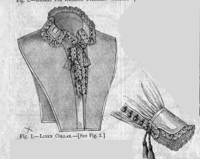 June 1877 Linen Collar & Cuffs from Harper's Bazar