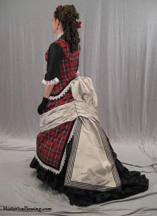 1875 Dinner Dress (left side back view)