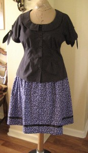 Modern Black Top & Purple Skirt