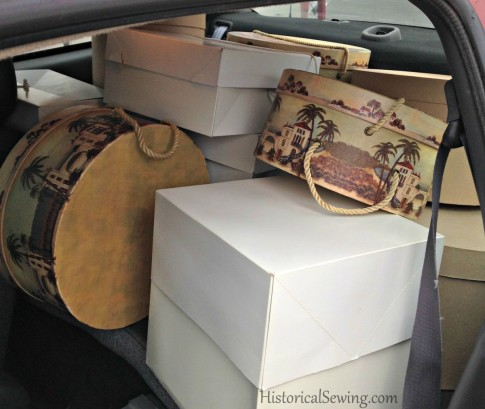 Packed hat boxes