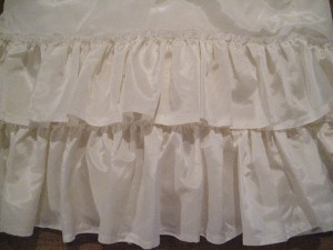 Gathered ruffles on a poly taffeta petticoat