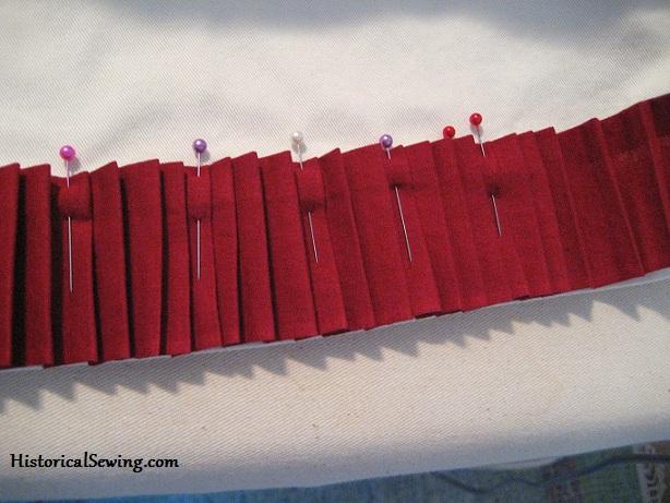 Pinning Pleats to Hem