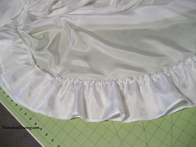 Pinning Ruffle onto 1905 Foundation Skirt