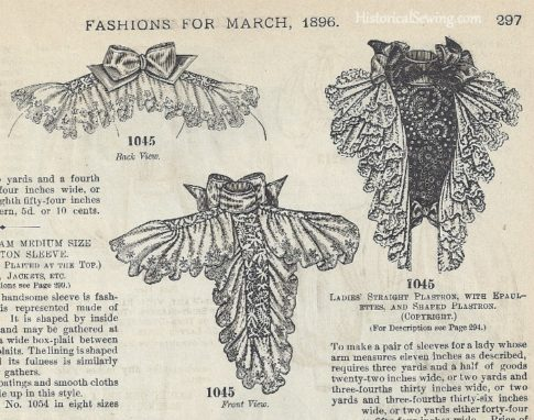 March 1896, The Delineator - Ladies' Straight Plastron with Epaulettes, and Shaped Plastron