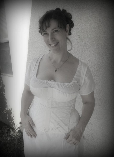 Jen in new Regency corset & chemise