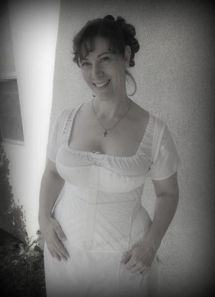 Jen in new Regency corset & chemise