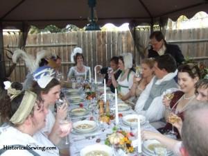Regency soiree table & guests