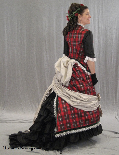 Right side back view of 1875 dress