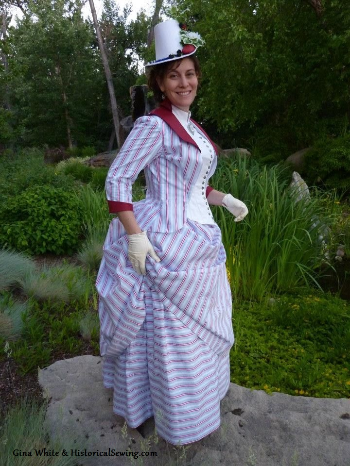 Jen in her 1887 striped dress