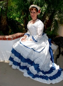 Jennifer in 1875 sheer striped bustle day dress