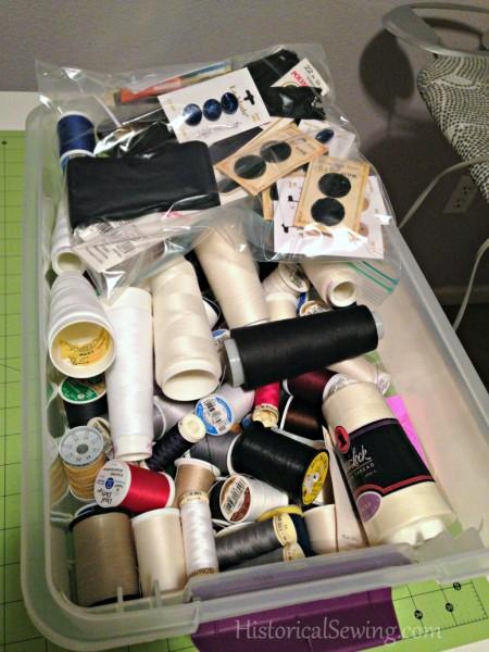 Thread & notions in plastic bin