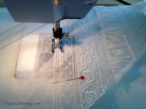 1880 Vanilla Dressing Gown|Stitching lace to template