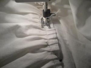 Stitching ruffle on petticoat