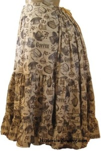 Victorian Petticoat in coffee print fabric