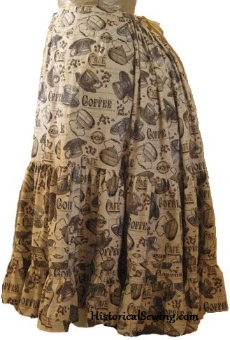 Victorian Petticoat in fun coffee print fabric