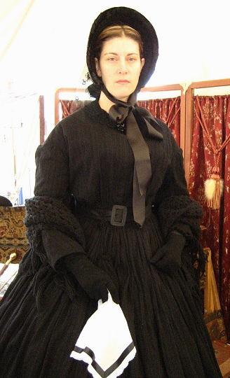 1862 Widow's Dress Made with Sheer Fabric