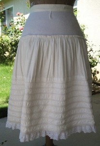 Back of yoked corded petticoat