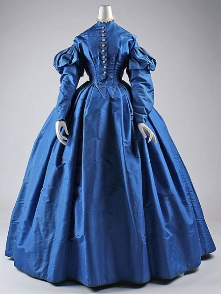 c.1867 Blue Silk Dress at Met Museum
