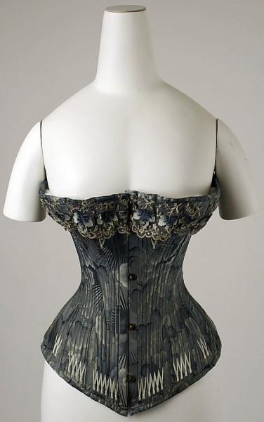 """c.1878 Corset, 20"""" waist, The Met Museum"""