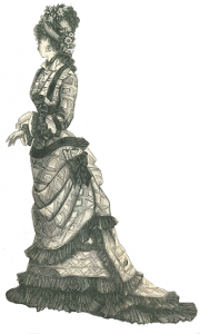 1877 Plaid Bustle Dress Girl